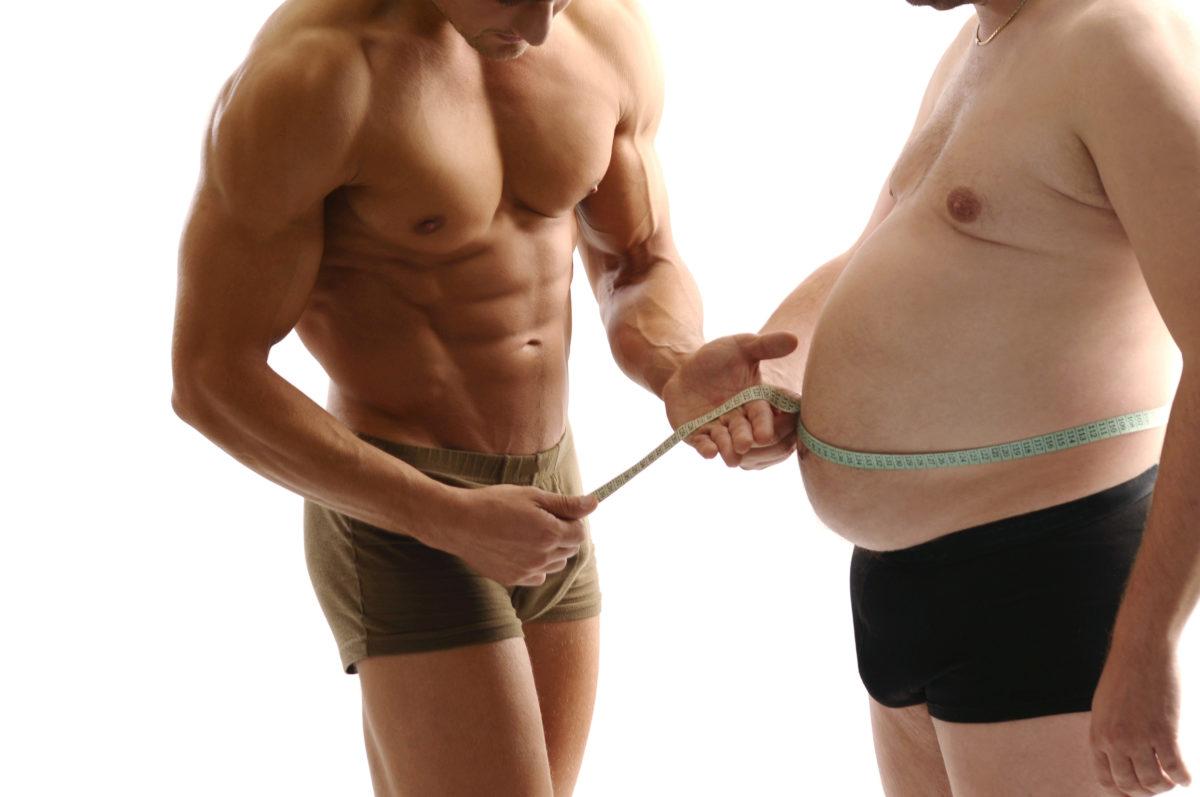 体脂肪の少ない男性と多い男性